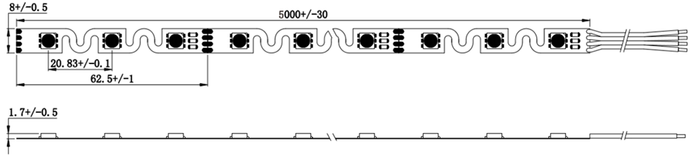 dimensional drawing of 48LED bendable 5050RGB LED strip