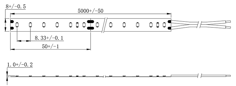 dimensional drawing of 2216 120LED LED-Bänder