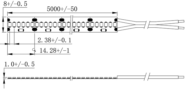 dimensional drawing of 2216 420LED SMD pásky