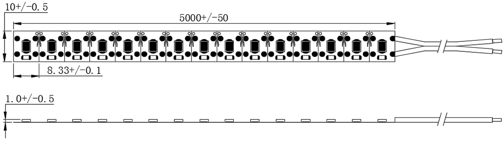 dimensional drawing of 2835 120LED 24V Divisible after each LED