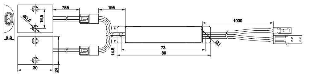 dimensional drawing of separate surface mounted double door trigger sensor switch