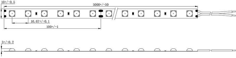 dimension drawing of 6060LED strip with lens
