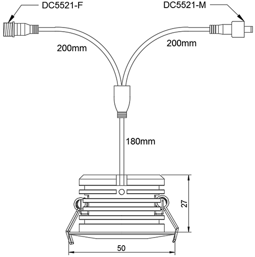 dimensional drawing of LED spotlight